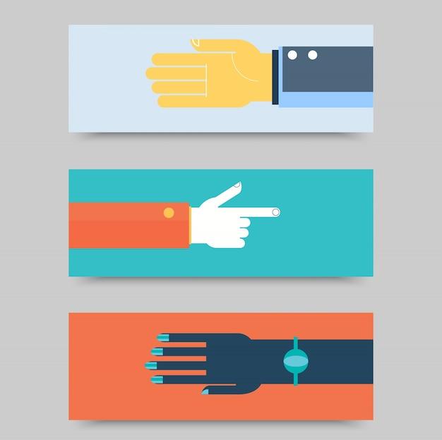 Le mani di affari gestiscono elementi di design. isolato