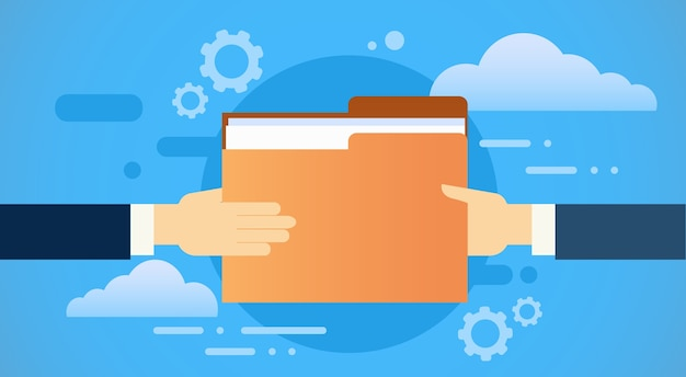Business hands give folder document papers