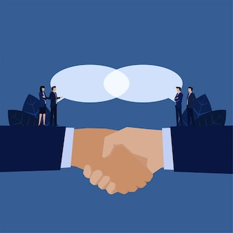 Business handshake for agreement idea united chat metaphor of one vision.