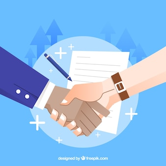 Business handshake background with contract in flat style