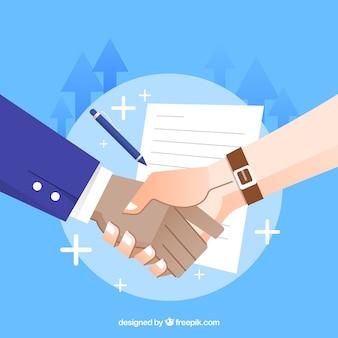 Бизнес рукопожатие фон с контрактом в плоском стиле
