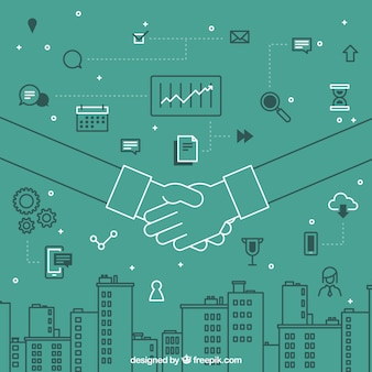 Business handshake background with elements in flat style
