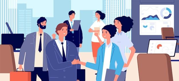 Деловое рукопожатие. подписание корпоративного договора, сотрудничество или сотрудничество