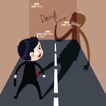Business happily walks into a trap, business concept, vector cartoon