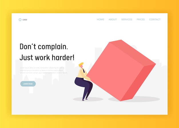 Business hard work competition concept landing page.