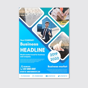 Business headline flyer with photo