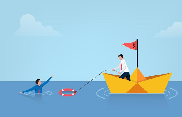 Business help other with lifebuoys vector illustration. bankruptcy and government bailout symbol with businessman on paper boat and drowning man to life preserver.