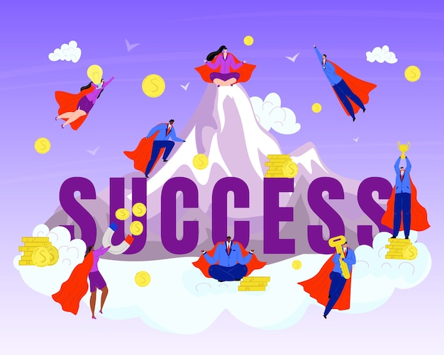 Business hero, superheros on success mountain  illustration. businessman in red cloacks. challenge, success team of superheroes. power in teamwork concept. strength and leadership.