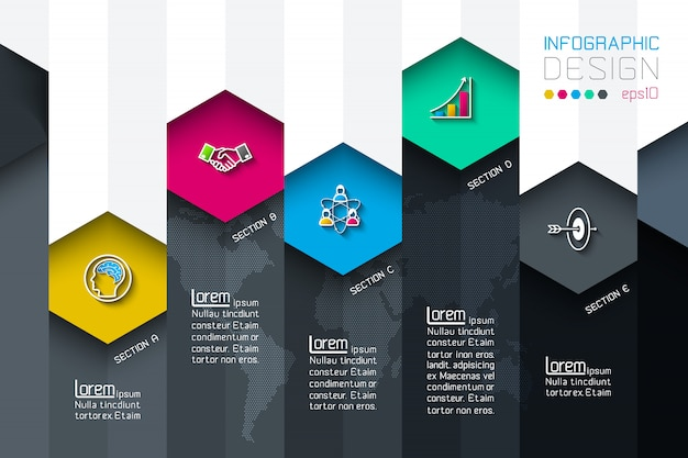 Business hexagon net labels shape infographic