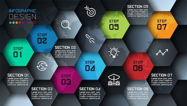 Business hexagon net shape infographic template