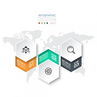Business hexagon shape infographic groups bar.