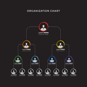 Business hierarchy organizational structure of the company on black