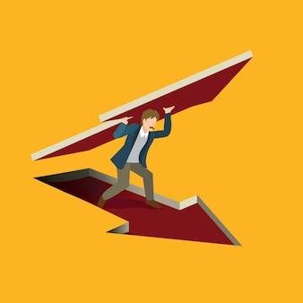 Business holding arrow isometric