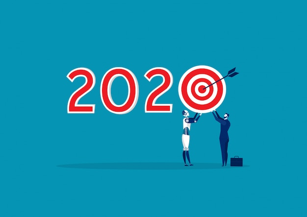 Business holding target 2020 new year blue background.