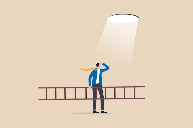 Business hope to solve crisis problem, plan and strategy to reach achievement, ladder of success concept, businessman holding ladder looking at hope light planning to climb and escape through hole.