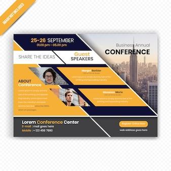 Бизнес-горизонтальный дизайн листовок для конференций