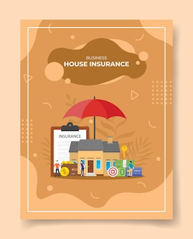 Business house insurance people around house umbella contract policy insurance target