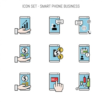 Business icon collection set flat lay
