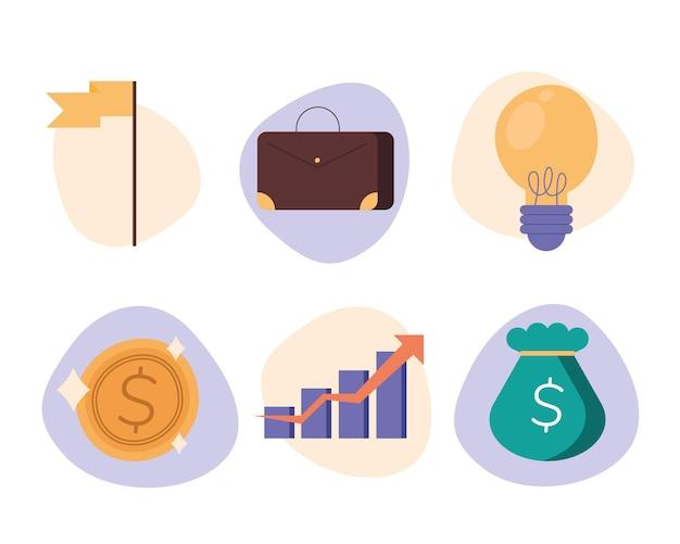 비즈니스 아이콘 세트 디자인, 관리 재정 및 돈 테마 그림
