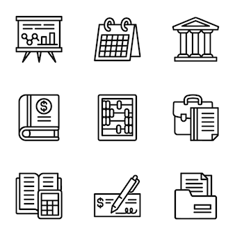 Business icon set. outline set of 9 business icons
