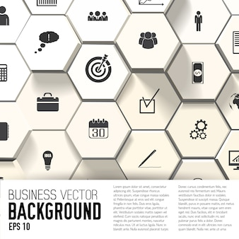 Business icons on abstract background with text field flat