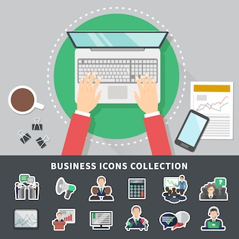 Business icons collection background