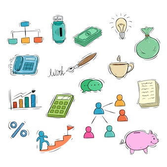 Business icons collection with colored doodle style