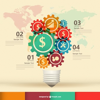 Business icons in gears creating a light bulb