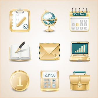 Business icons of gold   illustration