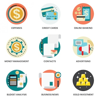 Business icons set for business, marketing, management