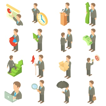Business icons set in cartoon style