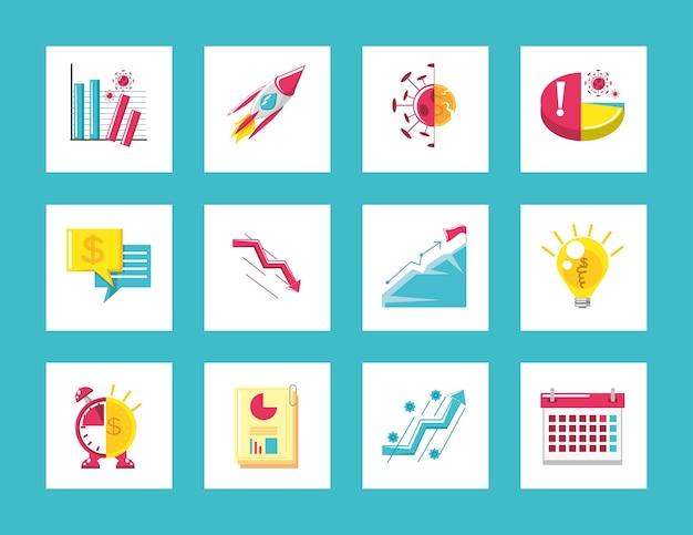 Набор бизнес-иконок, диаграмма отчетов, финансово-экономический кризис и иллюстрация концепции успеха