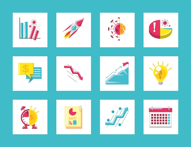 Business icons set diagram reports financial economic crisis and success concept illustration