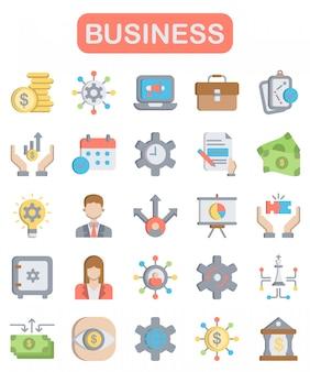 Business icons set, flat style
