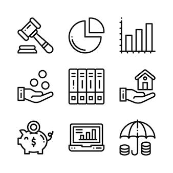 ビジネスのアイコンを設定します。ビジネス、管理、金融、戦略、マーケティングのアイコン。