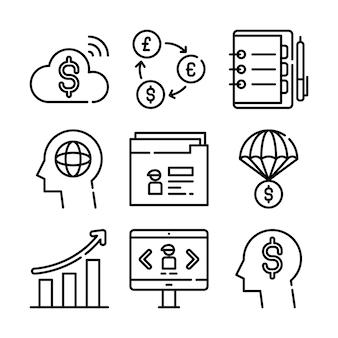 Бизнес иконы установить. иконки для бизнеса, управления, финансов, стратегии, маркетинга.