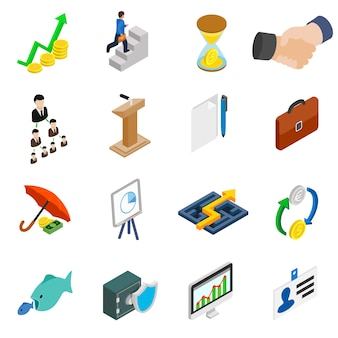 Business icons set in isometric 3d style on white