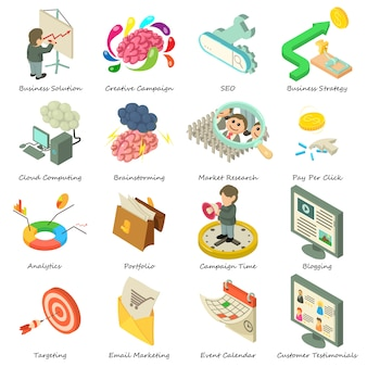 Business icons set. isometric illustration of 16 business vector icons for web