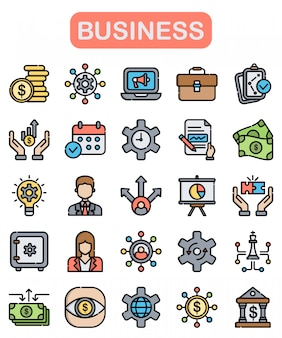 Business icons set, lineal color style
