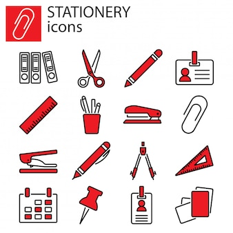 Business icons set. stationery, office stuff