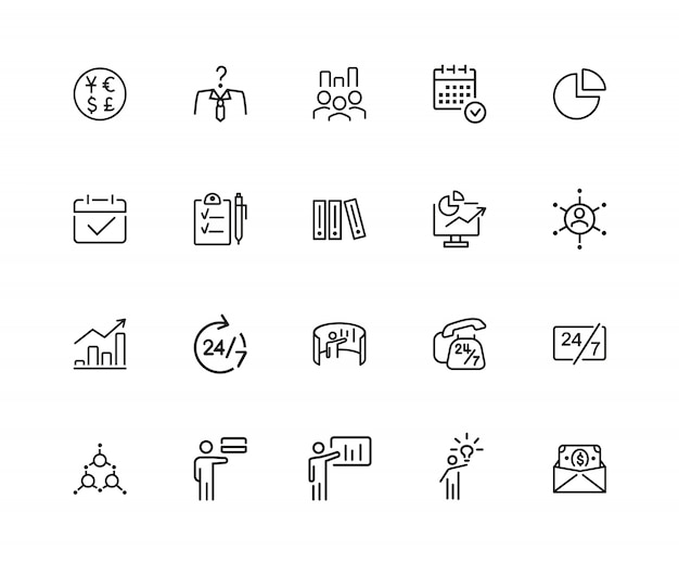 Business icons. set of twenty line icons. presentation, time management, graphs.