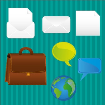 Business icons turquoise background