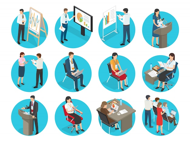 Business icons with office workers set. businessmen and businesswomen show presentation, typing on laptop and speaks from podium