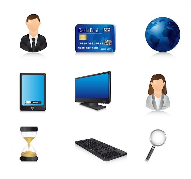 Business icons with shadow over white background vector