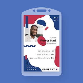 Business id card in memphis style with photo