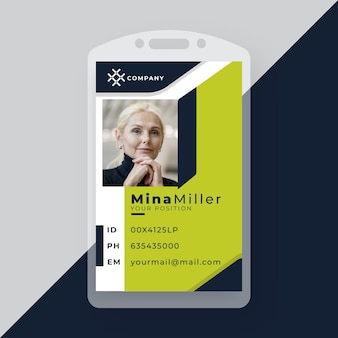 Business id card with minimalist shapes and photo