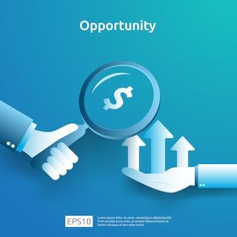 증가 성장 그래픽 차트와 손에 돋보기 사업 아이디어 분석 및 기회 연구 개념. 화살표 요소와 투자 수익 roi 그림의 재무 성과