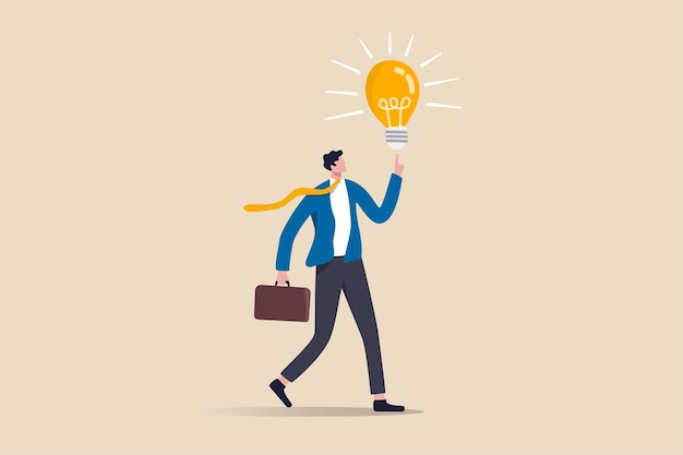사업 아이디어, 사업가 회사 리더가 비즈니스 문제를 해결하는 솔루션을 얻었습니다.
