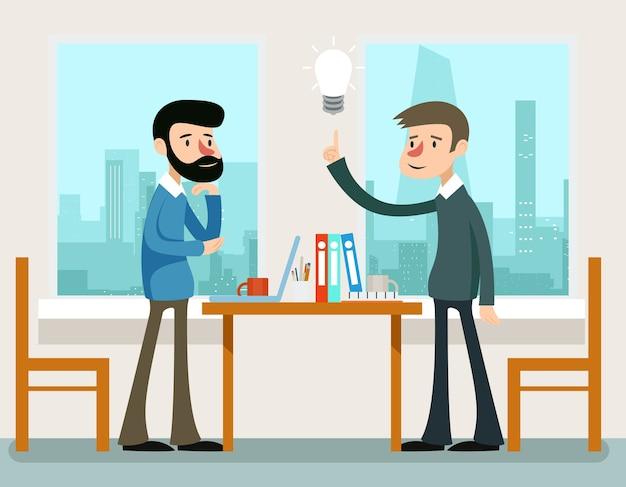 Idea imprenditoriale. uomini d'affari che parlano di strategia in piedi alla scrivania in ufficio. idea che discute o strategia di discussione dell'uomo d'affari, concetto di riunione di lavoro di squadra