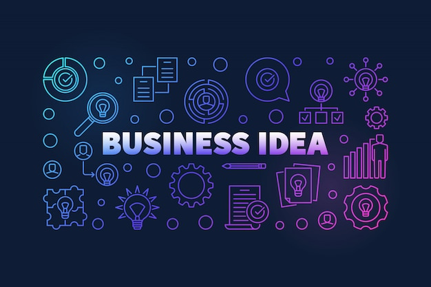 Business idea colorful illustration or banner